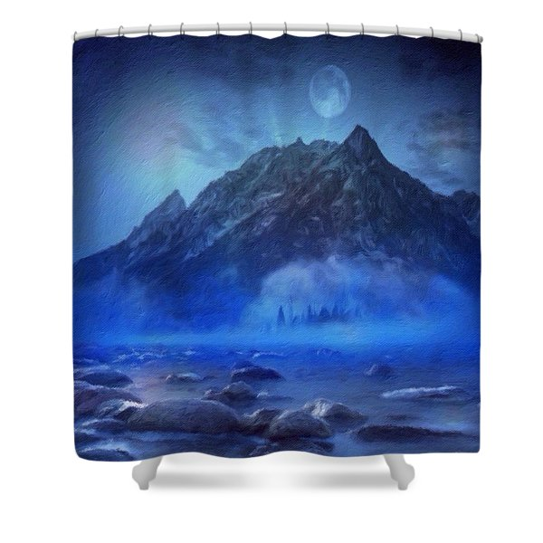Shower Curtain featuring the digital art Blue Mist Rising by Mark Taylor