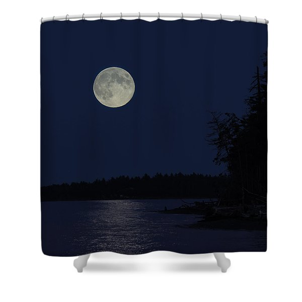 Shower Curtain featuring the photograph Blue Moon by Randy Hall