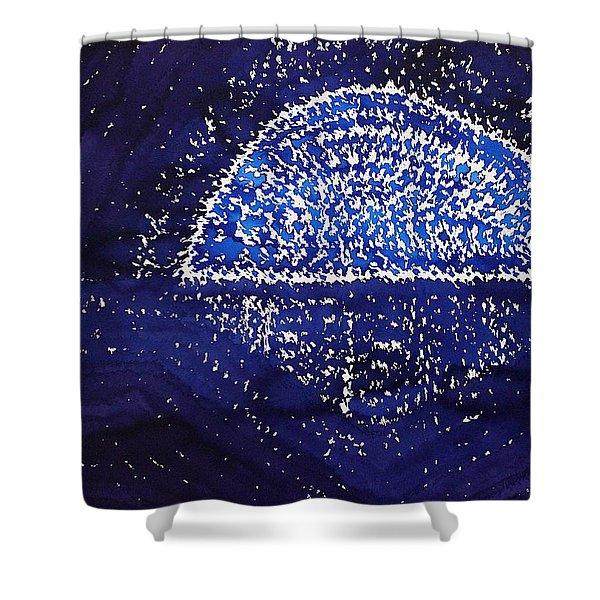 Blue Moonrise Original Painting Shower Curtain