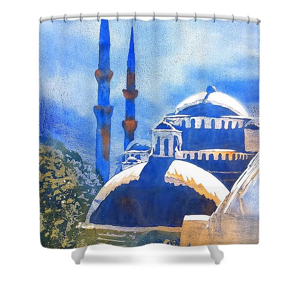 Blue Mosque In Blues Shower Curtain
