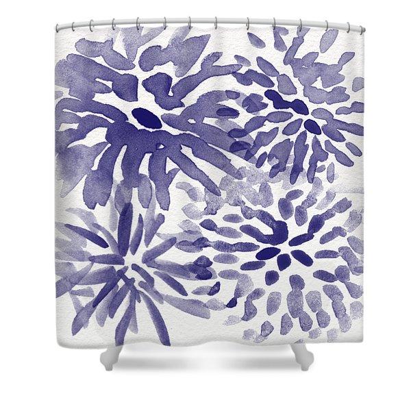 Blue Mums- Watercolor Floral Art Shower Curtain