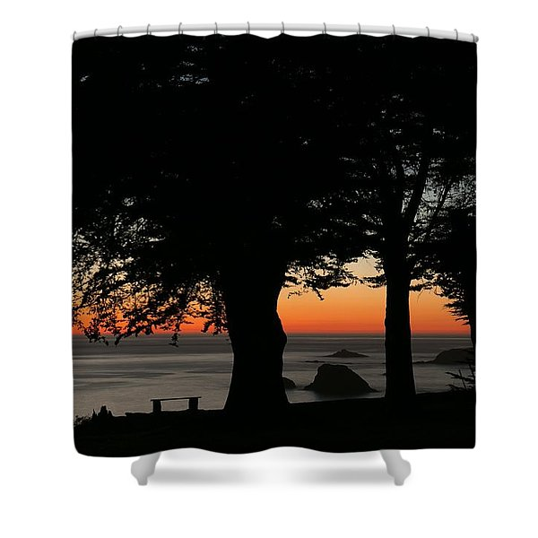 Blue Pacific At Sunset Shower Curtain