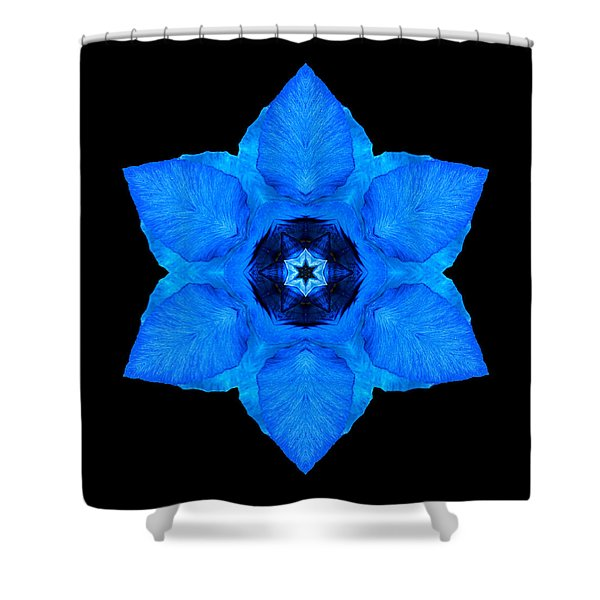 Blue Pansy II Flower Mandala Shower Curtain