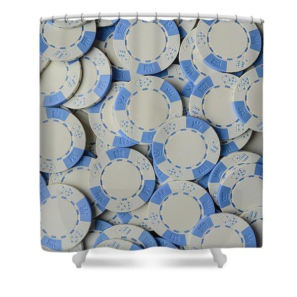 Blue Poker Chip Background Shower Curtain