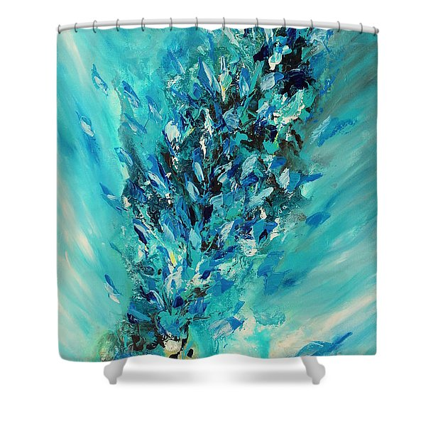 Blue Power Shower Curtain