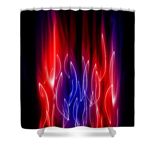 Blue Red Flame Shower Curtain