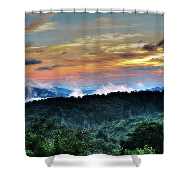 Blue Ridge Mountain Sunrise  Shower Curtain