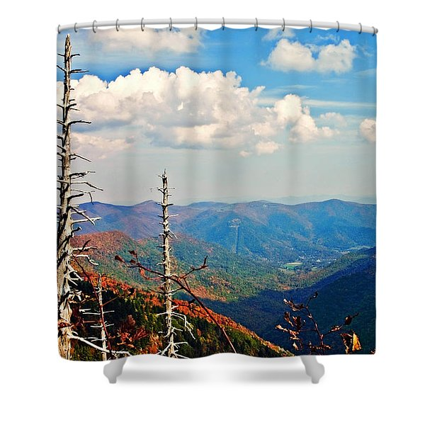 Blue Ridge Parkway Art-trees And Mountains Shower Curtain