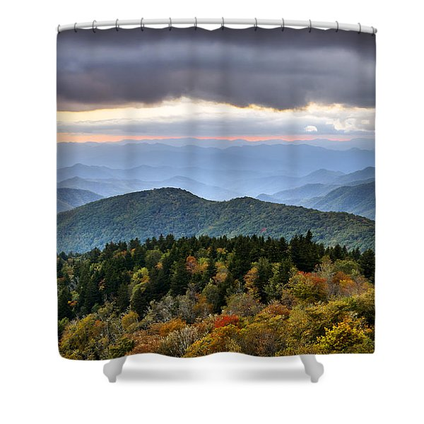 Blue Ridge Parkway Autumn Mountains Sunset Nc - Boundless Shower Curtain