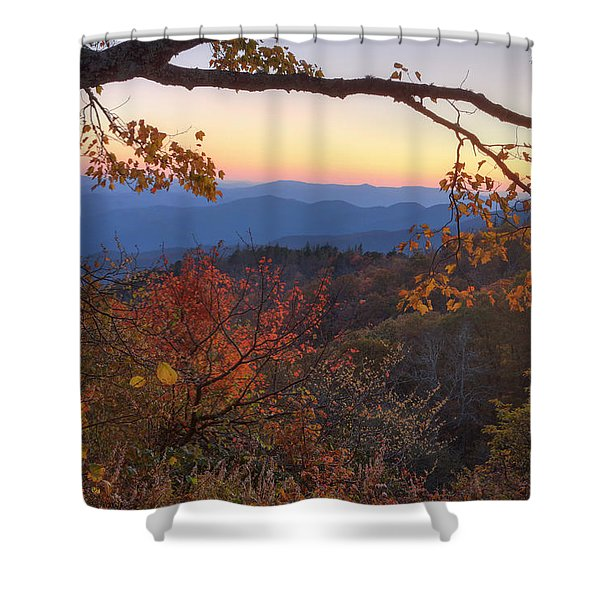 Blue Ridge Sunset Shower Curtain