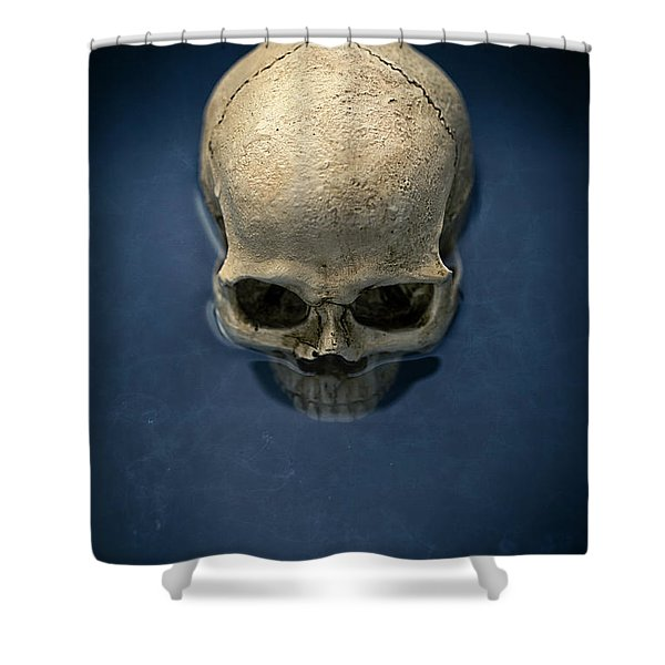 Blue Skull Shower Curtain