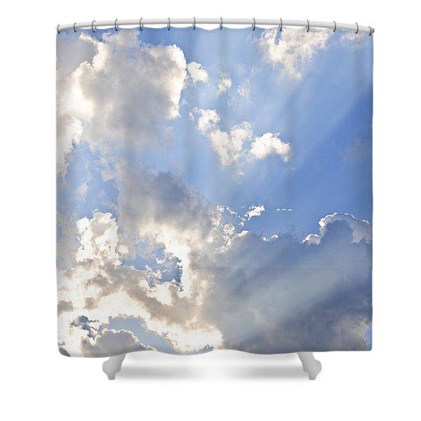 Blue Sky With Sun Rays Shower Curtain