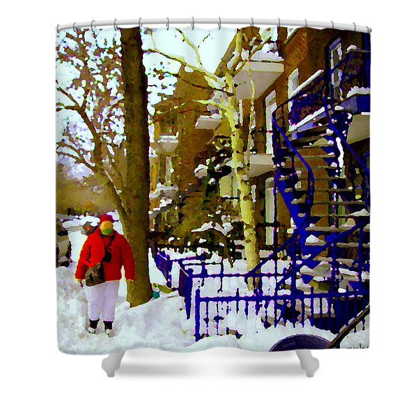 Blue Snowy Staircase And Birch Tree Montreal Winter City Scene Quebec Artist Carole Spandau Shower Curtain