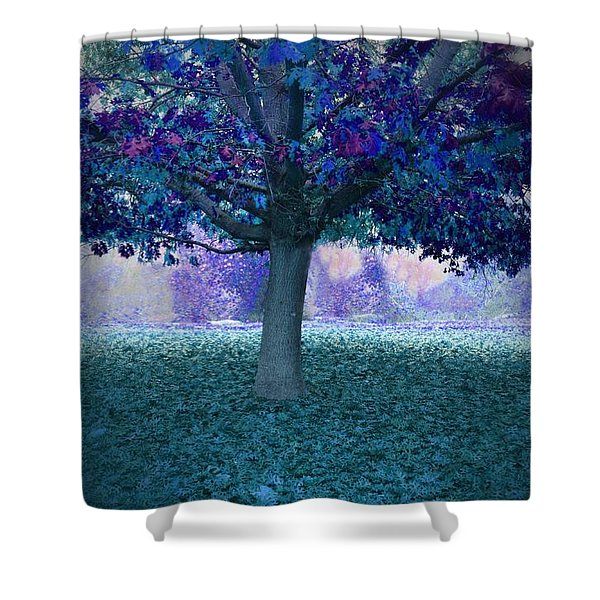 Blue Tree Monet Painting Background Shower Curtain