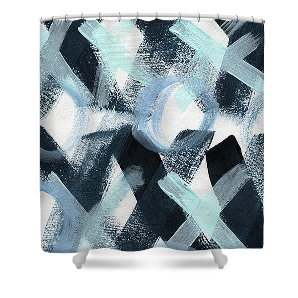 Blue Valentine- Abstract Painting Shower Curtain