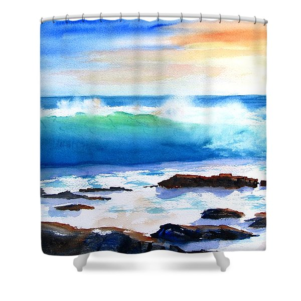 Blue Water Wave Crashing On Rocks Shower Curtain