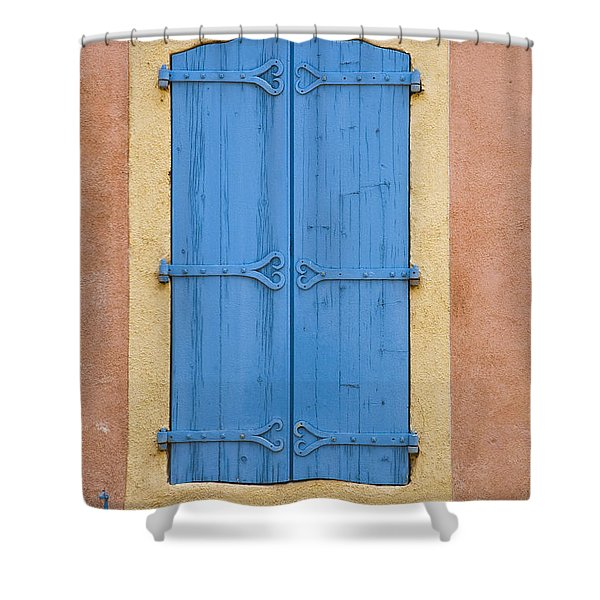 Blue Window Shutters Shower Curtain