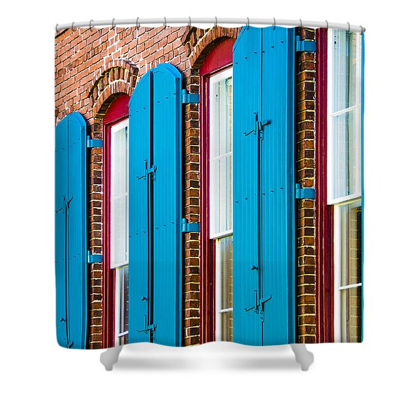 Shower Curtain featuring the photograph Blue Windows by Carolyn Marshall