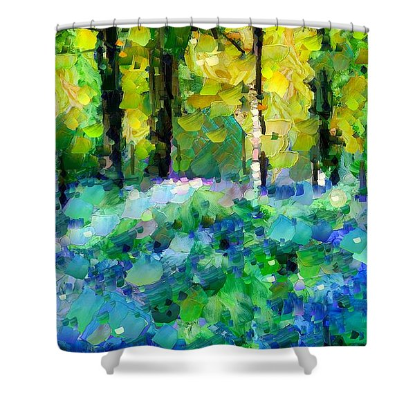 Bluebells In The Forest - Abstract Shower Curtain