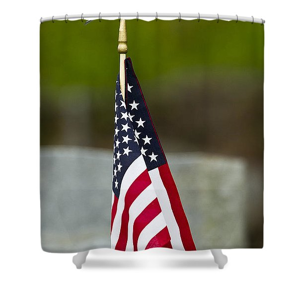 Bluebird Perched On American Flag Shower Curtain