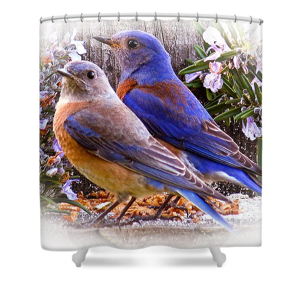 Bluebird Wedding Shower Curtain
