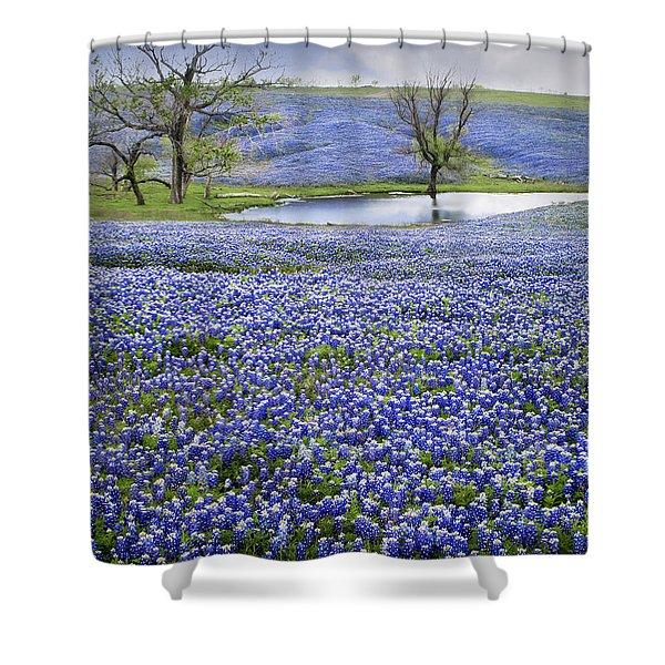 Bluebonnet Pond Shower Curtain