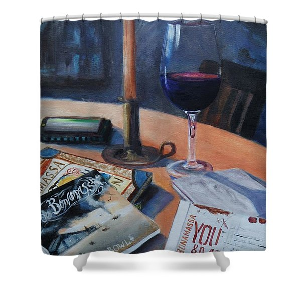 Blues And Wine Shower Curtain