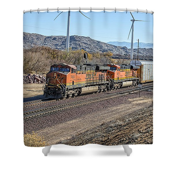 Shower Curtain featuring the photograph Bnsf 7454 by Jim Thompson