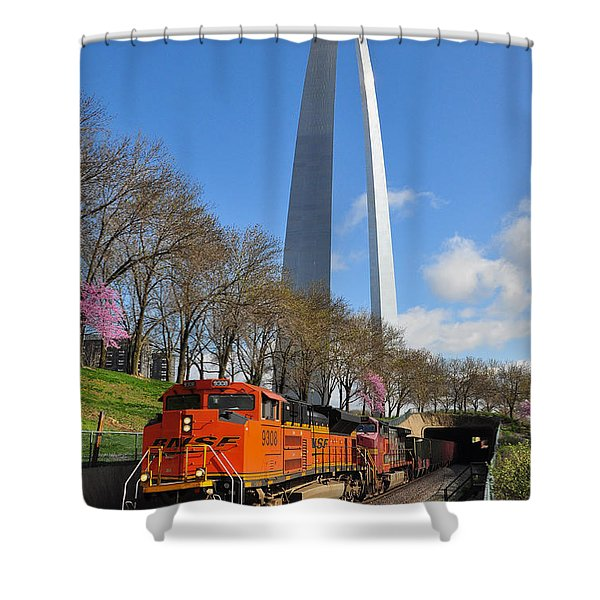 Bnsf Ore Train And St. Louis Gateway Arch Shower Curtain