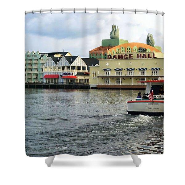 Boardwalk Boat Ride Walt Disney World Shower Curtain