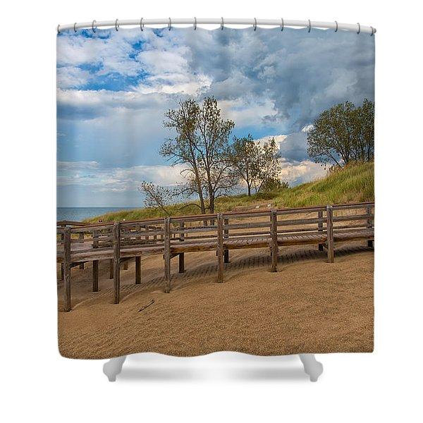 Boardwalk On The Beach At Lake Michigan Shower Curtain