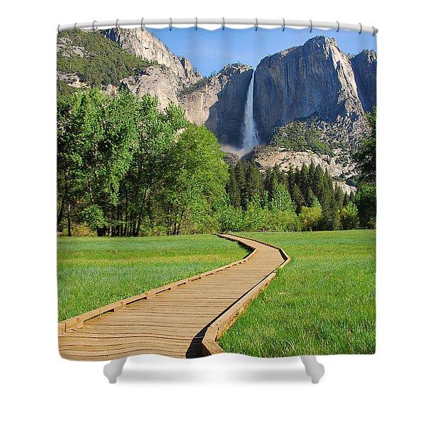 Boardwalk To Yosemite Falls  Shower Curtain