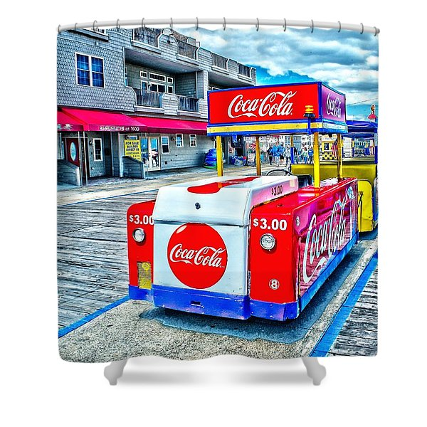 Boardwalk Tram  Shower Curtain