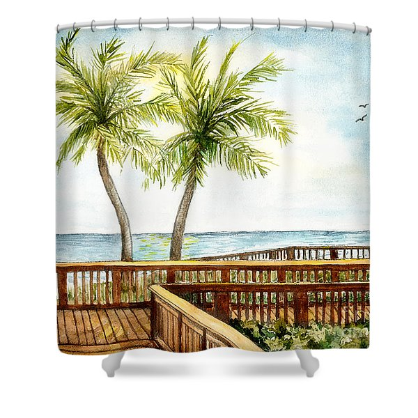 Boardwalk With Two Palms Shower Curtain