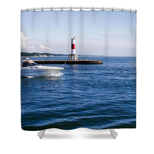 Boat At Holland Pier Shower Curtain
