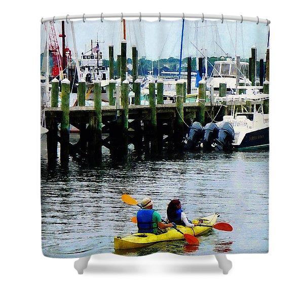 Boat - Kayaking In Newport Ri Shower Curtain