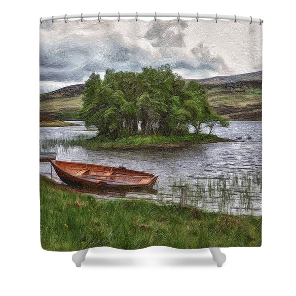 Boat On Lake Bank 1929 Shower Curtain