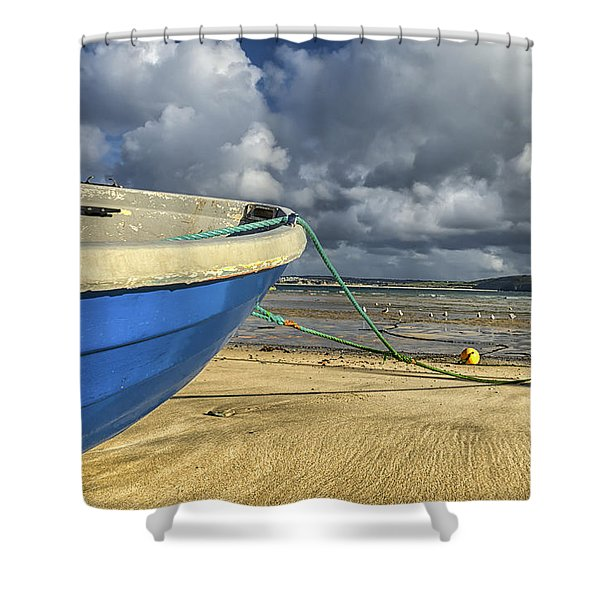 Blue Boat At St Ives Shower Curtain