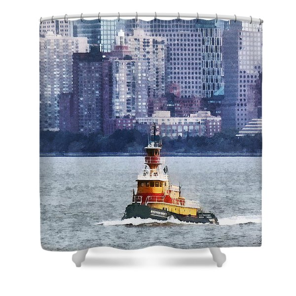 Boat - Tugboat By Manhattan Skyline Shower Curtain