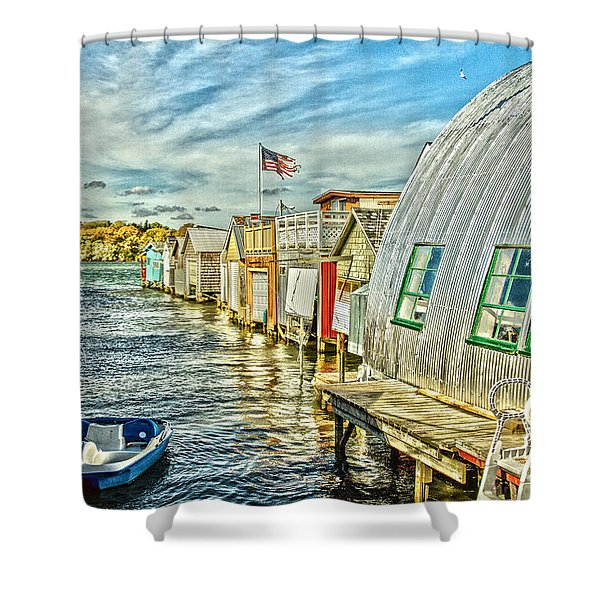Boathouse Alley Shower Curtain