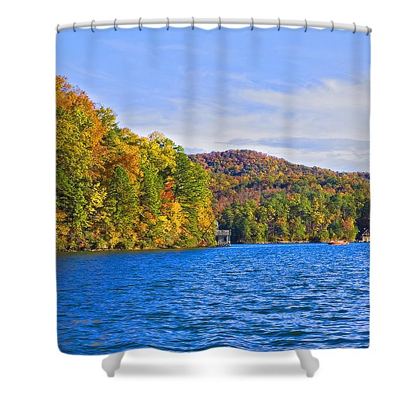 Boating In Autumn Shower Curtain