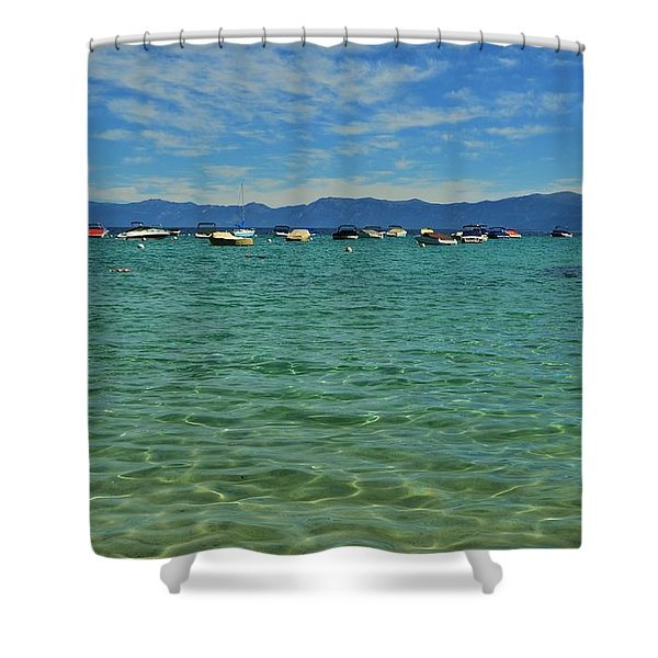 Boating On Clear Lake Tahoe Shower Curtain