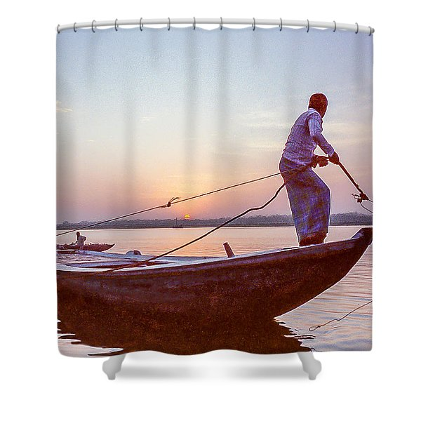 Boatman On The Ganges Shower Curtain