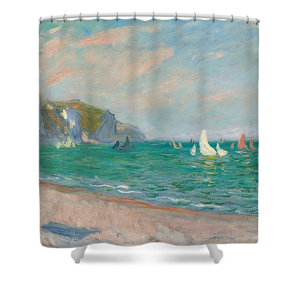 Boats Below The Pourville Cliffs Shower Curtain