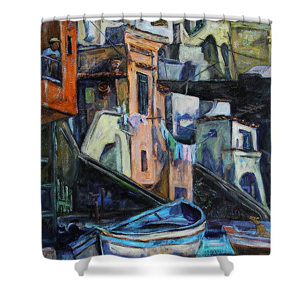 Boats In Front Of The Buildings I  Shower Curtain