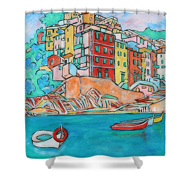 Boats In Front Of The Buildings X Shower Curtain