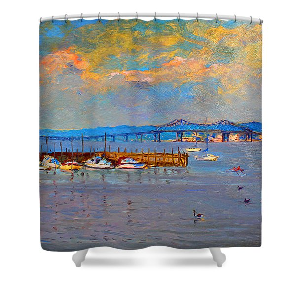 Boats In Piermont Harbor Ny Shower Curtain