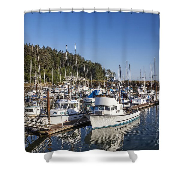Shower Curtain featuring the photograph Boats Moored At Charleston Marina by Bryan Mullennix