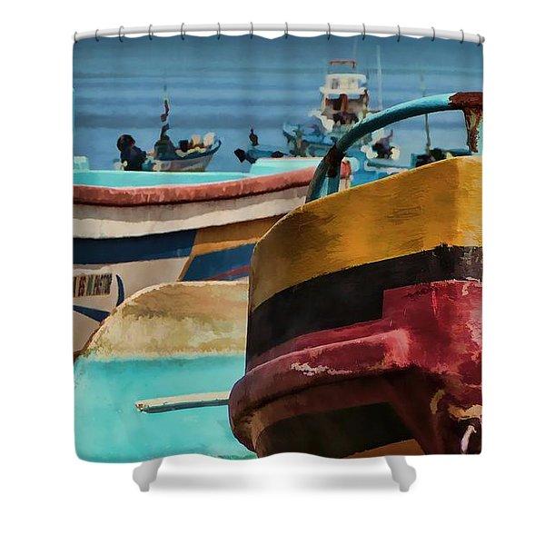 Boats On The Beach - Puerto Lopez - Ecuador Shower Curtain