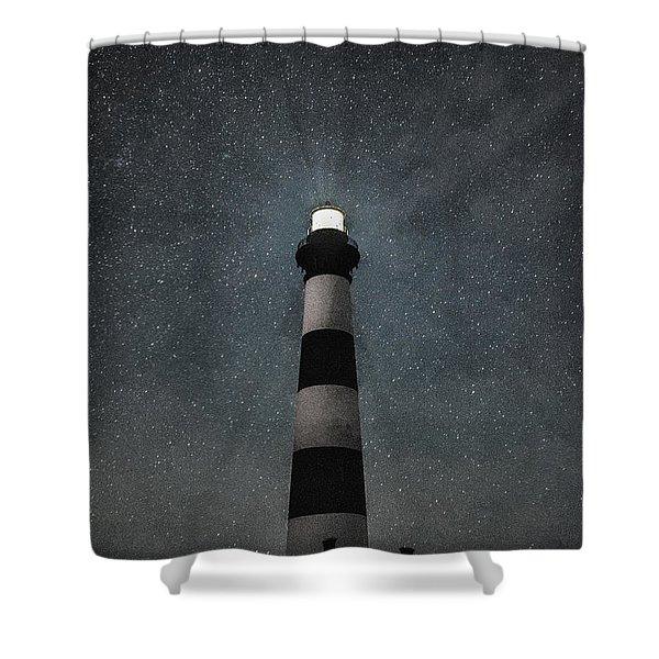 Bodie Island Light Midnight Shower Curtain